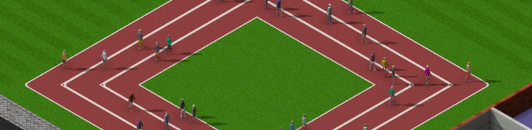 Students running around a player made track